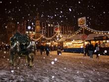 Ambiance hivernale d'une place publique